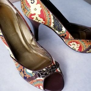 J. Crew New Italian design fabric leather heels 9M